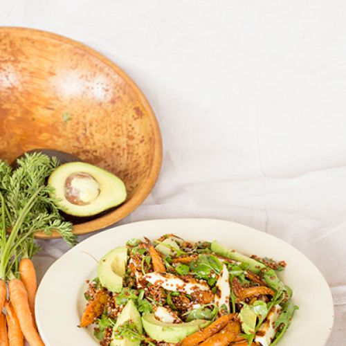 Roasted Carrots and Red Quinoa with Grilled Halloumi and Avocado