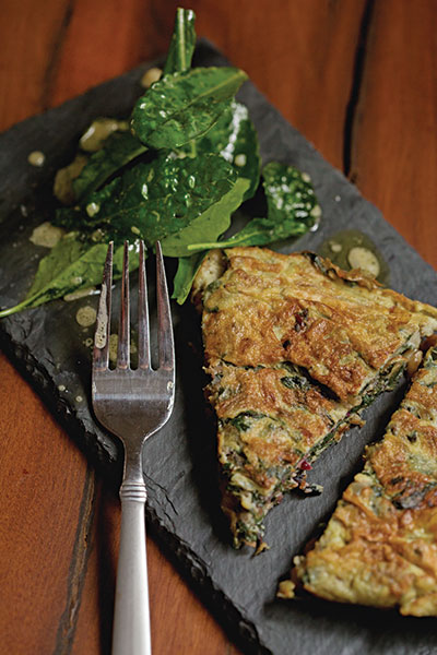 Frittata with Swiss Chard, Golden Raisins, Pine Nuts and Pancetta