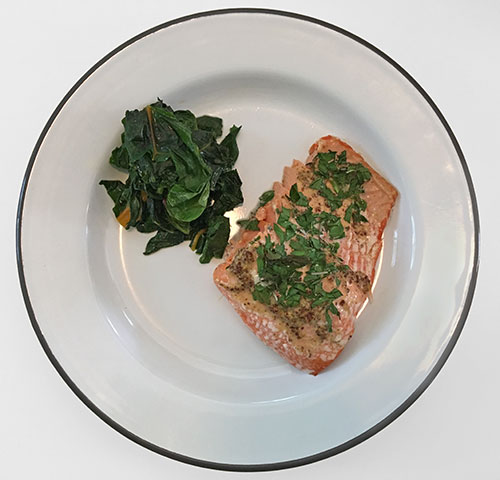 Herb-Crusted Salmon with Pan-Fried Greens