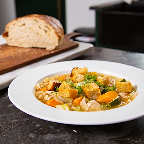 "Joel Mozersky's ""Sunday Winners"" Dilled Chicken and Wine Soup"