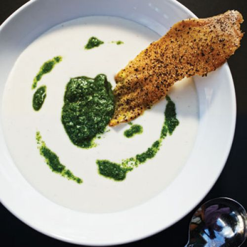 Chilled Turnip Soup with Turnip Green-Pesto and Poppy-Seed Crisp