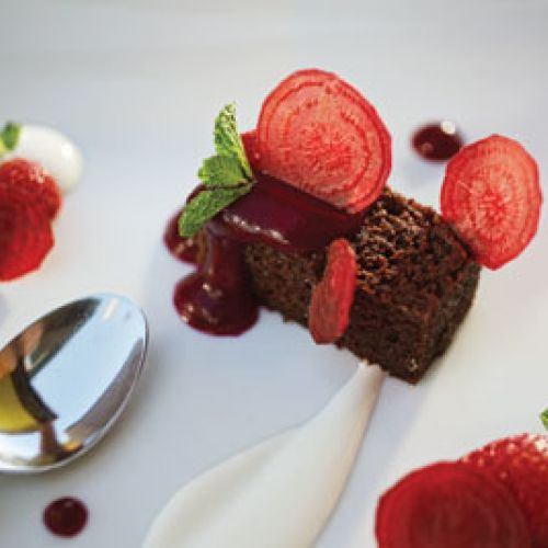 Chocolate Beet Cake with Strawberries and Goat-Yogurt Crème Fraîche