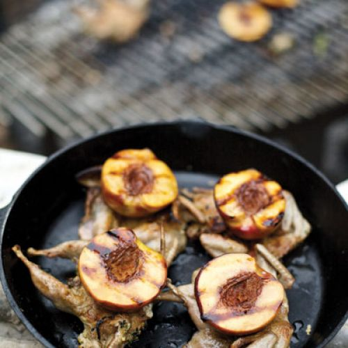 Grilled Thyme-Scented Quail with Balsamic Peaches