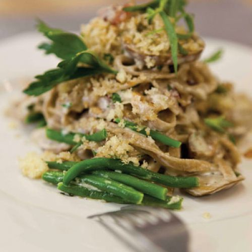 Whole Wheat Linguini with Oysters, Mushrooms, Beans and Bread Crumbs