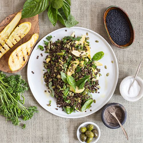 Grilled Summer Squash with Lentils, Herbs and Toasted Pumpkin Seeds