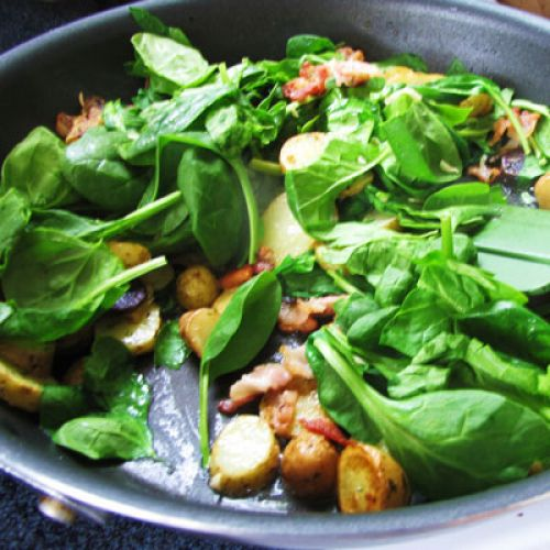Potato and Spinach Salad with Egg