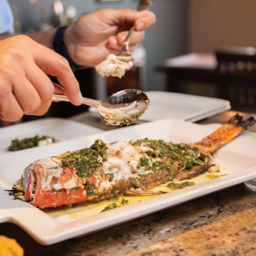 Grilled Whole Red Snapper with Mint Chimichurri