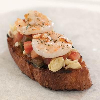 Bruschetta-Inspired Tomato, Artichoke and Shrimp Tartine