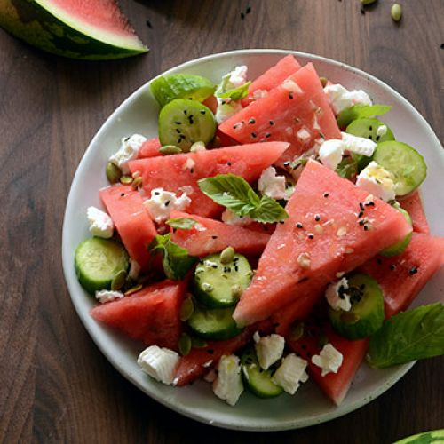 Watermelon & Goat Cheese Salad with Basil