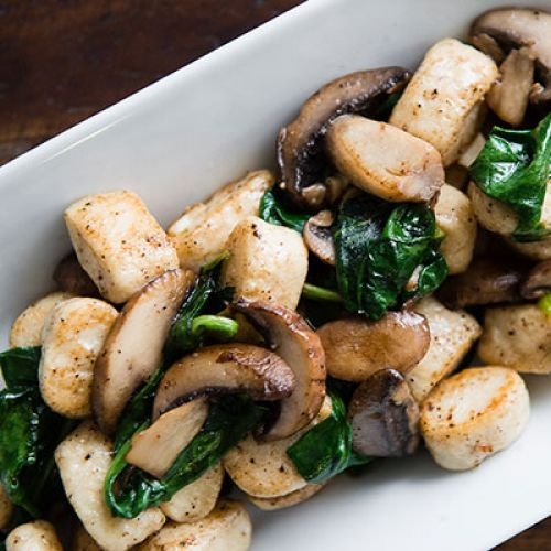 Ricotta Gnudi with Spinach and Mushrooms