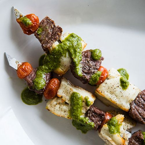 Grilled Halloumi and Lamb Skewers with Greek Chimichurri