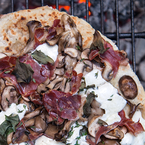 Campfire Roasted Mushroom and Prosciutto Pizza